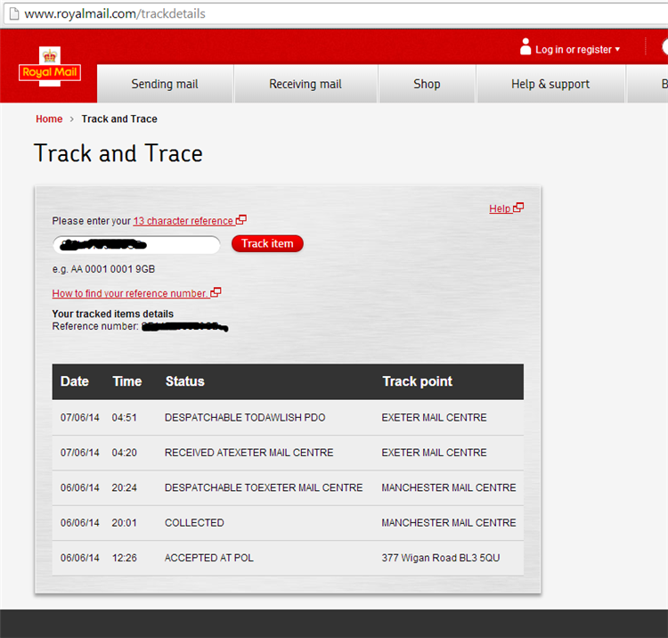 royal mail track and trace number