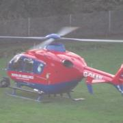 Devon air ambulance lands in Dawlish 12:15 hrs 22 12 18